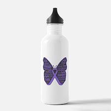 Butterfly Hodgkins Disease Ribbon Water Bottle