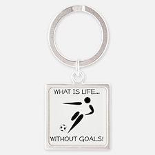 Soccer Goals Black Square Keychain