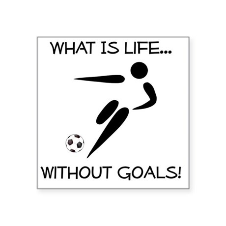 "Soccer Goals Black Square Sticker 3"" x 3"""