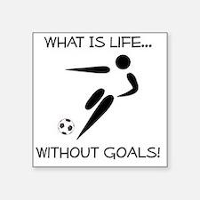 "Soccer Goals Black Square Sticker 3"" x 3"""