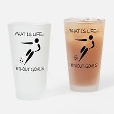 Soccer Goals Black Drinking Glass
