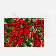 SPARKLING POINSETTIAS Greeting Card