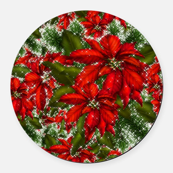 SPARKLING POINSETTIAS Round Car Magnet
