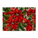 Red christmas poinsettia 5x7 Rugs