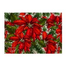 SPARKLING POINSETTIAS 5'x7'Area Rug