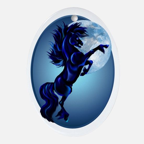 Rearing Stallion and Blue Moon Oval  Oval Ornament