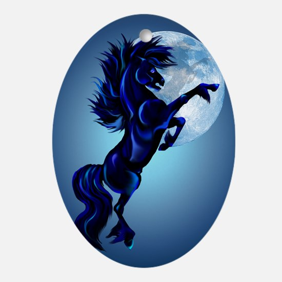 LargePosterRearing Stallion and Blue Oval Ornament