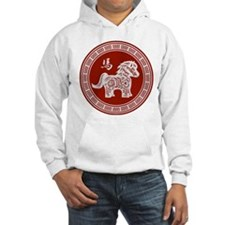 Red chinese horse with ornate frame large Hoodie