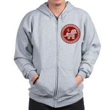 Red chinese horse with ornate frame large Zip Hoodie