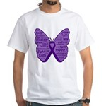 Butterfly GIST Cancer Ribbon White T-Shirt