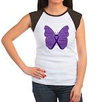 Butterfly GIST Cancer Ribbon Women's Cap Sleeve T-