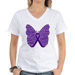 Butterfly GIST Cancer Ribbon Women's V-Neck T-Shir