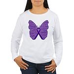 Butterfly GIST Cancer Ribbon Women's Long Sleeve T