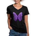 Butterfly GIST Cancer Ribbon Women's V-Neck Dark T