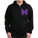 Butterfly GIST Cancer Ribbon Zip Hoodie (dark)