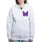 Butterfly GIST Cancer Ribbon Women's Zip Hoodie
