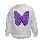 Butterfly GIST Cancer Ribbon Kids Sweatshirt