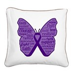 Butterfly GIST Cancer Ribbon Square Canvas Pillow