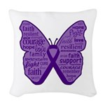 Butterfly GIST Cancer Ribbon Woven Throw Pillow