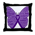 Butterfly GIST Cancer Ribbon Throw Pillow