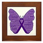 Butterfly GIST Cancer Ribbon Framed Tile