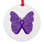 Butterfly GIST Cancer Ribbon Round Ornament