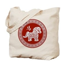 Red chinese horse with ornate frame large Tote Bag