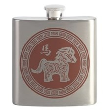 Red chinese horse with ornate frame large Flask