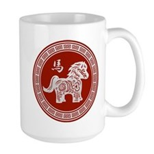 Red chinese horse with ornate frame large Mugs