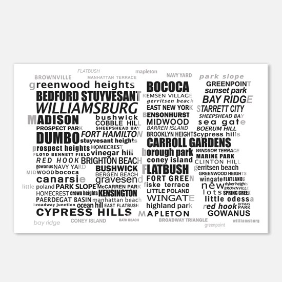 Brooklyn BK Text Art Postcards (Package of 8)