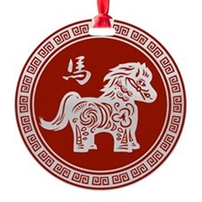 Red chinese horse with ornate frame large Ornament