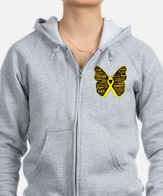 Butterfly Ewing Sarcoma Ribbon Zip Hoodie