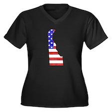 Delaware Flag Women's Plus Size V-Neck Dark T-Shir