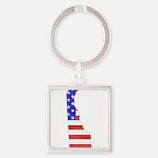 Delaware Flag Square Keychain