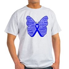 Butterfly Colon Cancer Ribbon T-Shirt