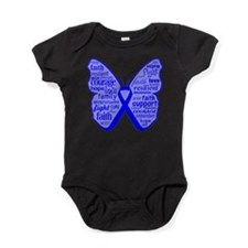 Butterfly Colon Cancer Ribbon Baby Bodysuit