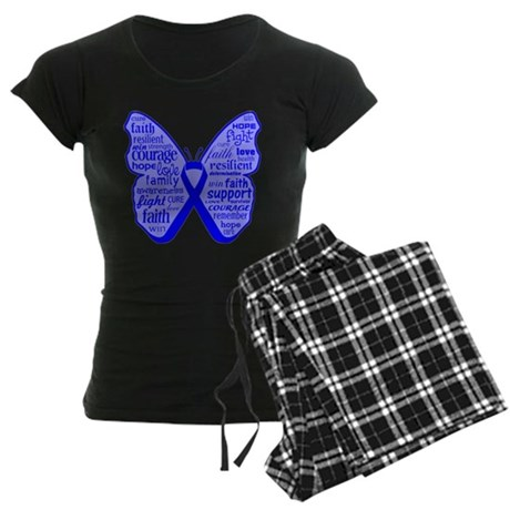Butterfly Colon Cancer Ribbon Women's Dark Pajamas