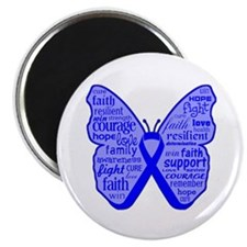 "Butterfly Colon Cancer Ribbon 2.25"" Magnet (100 pa"