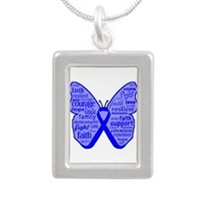 Butterfly Colon Cancer Ribbon Silver Portrait Neck
