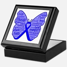 Butterfly Colon Cancer Ribbon Keepsake Box