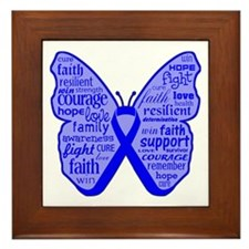 Butterfly Colon Cancer Ribbon Framed Tile