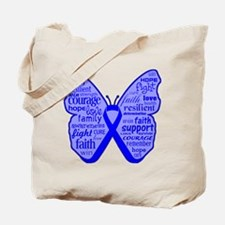 Butterfly Colon Cancer Ribbon Tote Bag