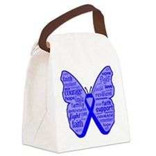 Butterfly Colon Cancer Ribbon Canvas Lunch Bag