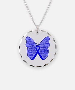 Butterfly Colon Cancer Ribbon Necklace