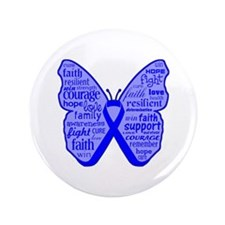 "Butterfly Colon Cancer Ribbon 3.5"" Button"
