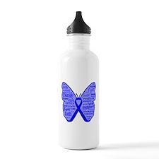 Butterfly Colon Cancer Ribbon Water Bottle