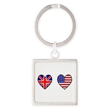 USA / UK Flag Hearts Keychains