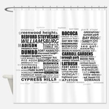 Brooklyn BK Text Art Shower Curtain