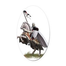 templar on rearing horse coloured  Oval Car Magnet