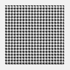 Houndstooth Pattern Black White Tile Coaster